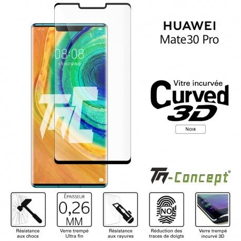 Huawei Mate 30 Pro - Verre trempé 3D incurvé - Noir - TM Concept®