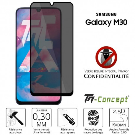 Samsung Galaxy M30 - Verre trempé Anti-Espions - Intégral Privacy - TM Concept®
