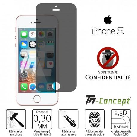 Apple iPhone SE - Verre trempé Anti-Espions - TM Concept®