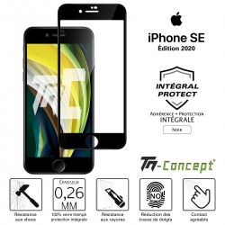 Apple iPhone SE (2020) - Verre trempé intégral Protect Noir - adhérence 100% nano-silicone - TM Concept®