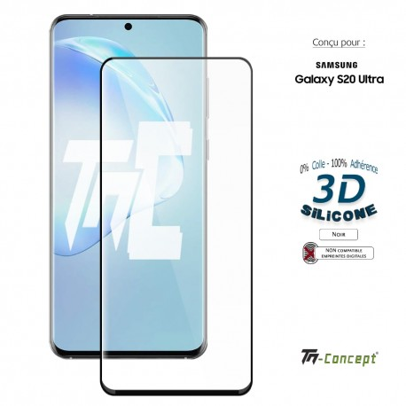 Samsung Galaxy S20 Ultra - Verre trempé incurvé 3D Silicone - TM Concept®