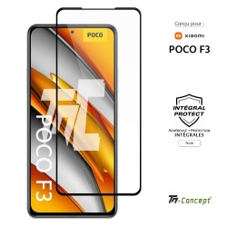 Xiaomi Poco F3 - Verre trempé intégral Protect Noir - adhérence 100% nano-silicone - TM Concept®