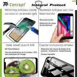 Samsung Galaxy A21 - Verre trempé intégral Protect Noir - adhérence 100% nano-silicone - TM Concept®