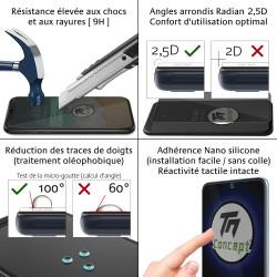 Vivo V21 - Verre trempé intégral Protect Noir - adhérence 100% nano-silicone - TM Concept®