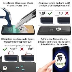 Apple iPhone 13 - Verre trempé intégral Protect Noir - adhérence 100% nano-silicone - TM Concept®