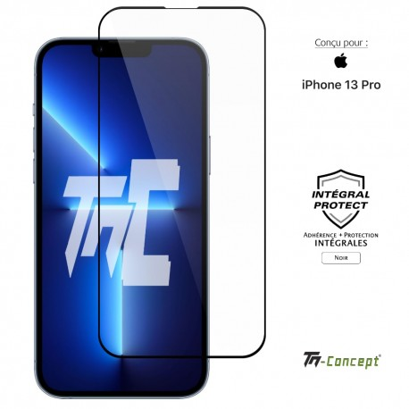 Apple iPhone 13 Pro - Verre trempé intégral Protect Noir - adhérence 100% nano-silicone - TM Concept®